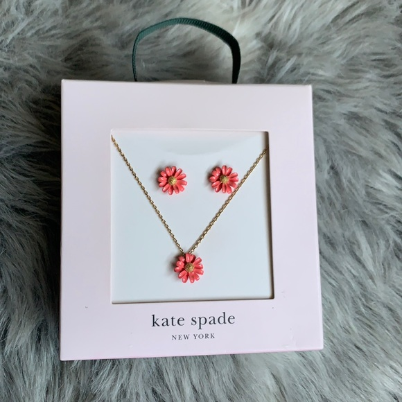 NWT Kate Spade Floral necklace + earrings coral